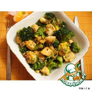 Рецепт: Лосось с брокколи и кукурузой