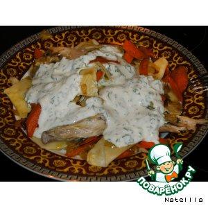 Рецепт: Хингял с курицей под чесночным катыком