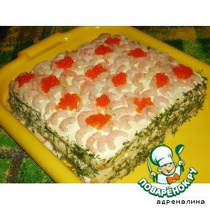 """Рецепт: Закусочный хлебный торт """"Морская стихия"""""""