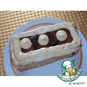 Рецепт: Бисквит на клубничном йогурте и пирожные из него