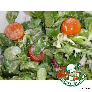 Рецепт: Рапунцель-салат с сырным соусом
