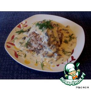 Рецепт: Гречневая каша с сырно-грибным соусом
