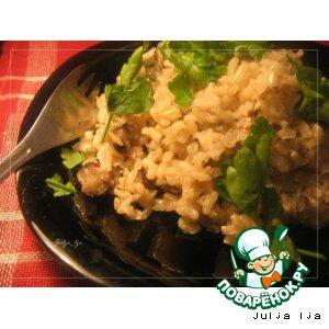 Рецепт: Бурый рис с сельдереем и грибами