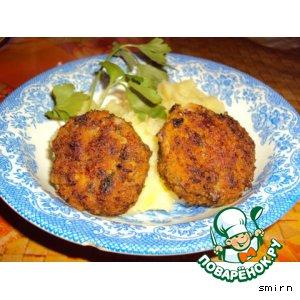 Рецепт: Мясные котлетки с зелeной редькой