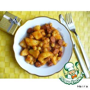 Рецепт: Рагу с нутом и охотничьими колбасками в томатном соусе