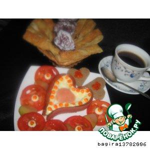 """Рецепт: Завтрак """"Солнечное сердце"""""""