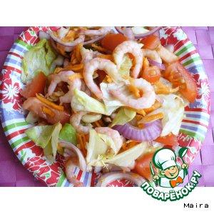 Рецепт: Вьетнамский салат с креветками