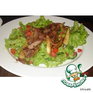 Рецепт: Салат из куриной печени с шафраном
