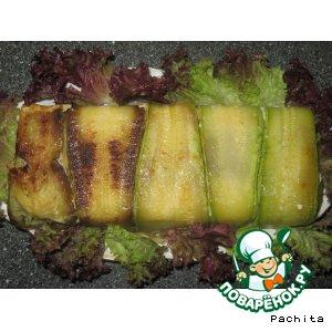 Рецепт: Кабачковая запеканка с рисом и грибами