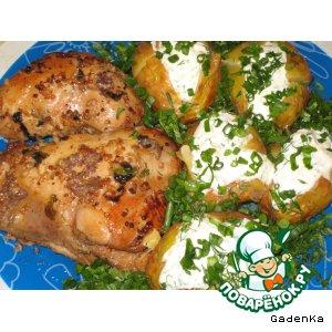 Рецепт: Маринованная курица, запеченная в фольге