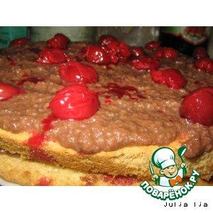 """Рецепт: Торт бисквитный """"Вишенка шоколадная"""""""