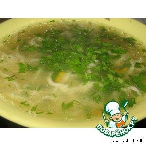 Рецепт: Суп курино-грибной с домашней лапшой