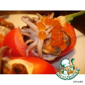 Рецепт: Лодочки с морепродуктами