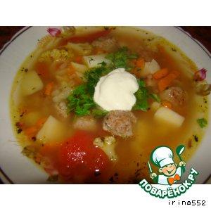 Рецепт: Овощной суп с котлетками