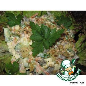 Рецепт: Салат из куриных желудочков с орехами