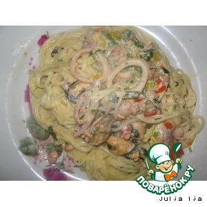 Рецепт: Спагетти с морепродуктами