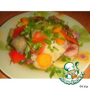 Рецепт: Овощное рагу с копченостями