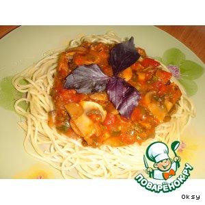 Рецепт: Спагетти с грибами по-болонски
