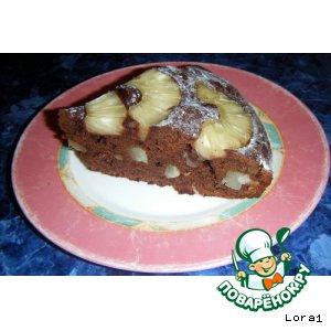 Рецепт: Шоколадно-Ликeрный Пирог с Ананасом