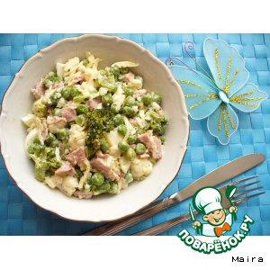 Рецепт: Салат из 2 -х видов капусты с ветчиной
