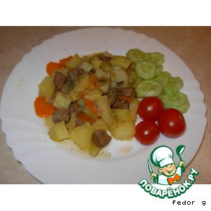 Рецепт: Тушеная говядина с картофелем