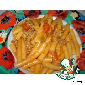 Рецепт: Макароны с томатно-сливочным соусом