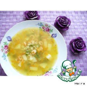 Рецепт: Суп с овощами, макаронами и креветками