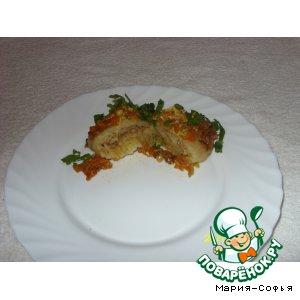 Рецепт: Гречнево-картофельные голубцы со шкварками