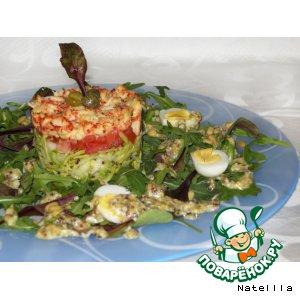 """Рецепт: Сфольято из раковых шеек, авокадо, зеленого яблока под соусом """"Провансаль"""""""