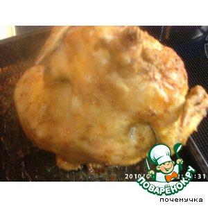Рецепт: Курица, запеченная на бутылке в духовке