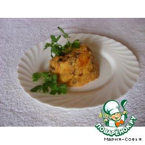 Рецепт: Кукурузная запеканка с грибами и шкварками