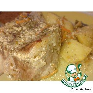 Рецепт: Говяжье ребро со сливками и щавелем в горшочке