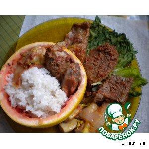 Рецепт: Телятина-стифадо тушеная в томатах и апельсинах
