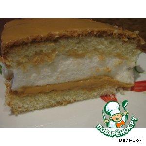 Рецепт: Бисквитный торт с суфле и кремом из вареной сгущенки