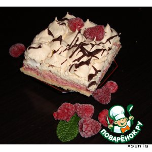 Рецепт: Торт Дуэт или Малина плюс безе