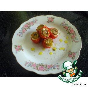 Рецепт: Запеченые помидоры, фаршированные сыром фета