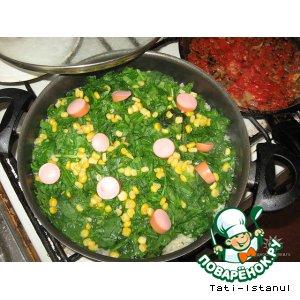 Рис под шпинатной шубкой – кулинарный рецепт