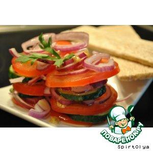Рецепт: Салат из помидоров и огурцов по-испански