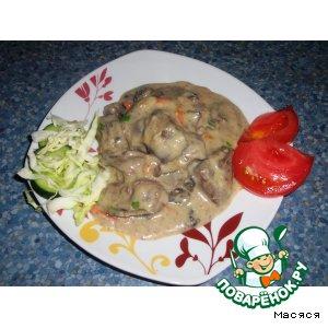 Рецепт: Куриная печень в белом соусе