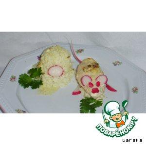 Рецепт: Куриные грудки в сливочно-луковом соусе  (с детским вариантом)