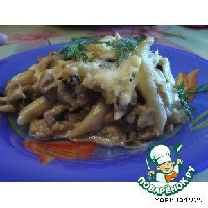 Рецепт: Запеканка из макарон с мясом индейки