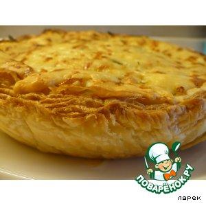 Рецепт: Пирог с капустой и зерненым творогом