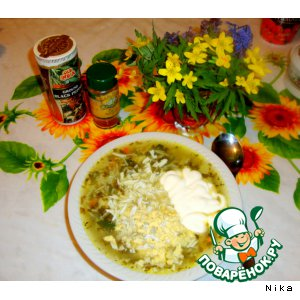 Рецепт: Вермишелевый суп с крапивой