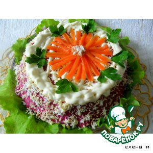 Рецепт: Закусочный селeдочный торт-желе