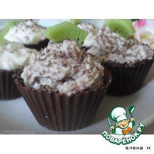 Рецепт: Шоколадные тарталетки с творожным десертом