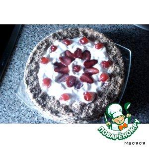 Рецепт: Торт с клубникой, сливками и кремом