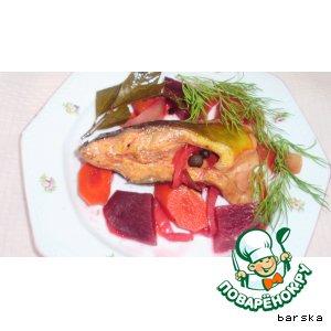 Рецепт: Карп розовый  в овощах