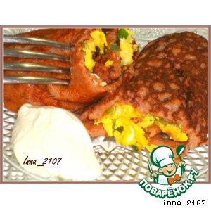 Рецепт: Томатные блинчики с омлетной начинкой