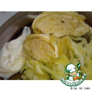 Рецепт: Куриные рулетики-суфле с овощами