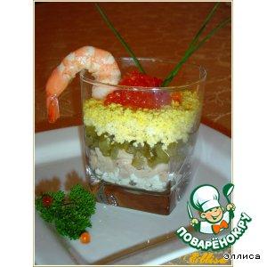 Рецепт: Веррины с красной икрой и печенью трески